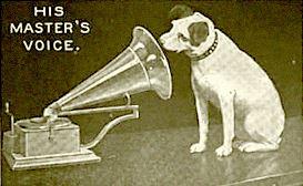 his marster's voice : gramophone reniflé par un chien