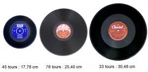 3 formats ; 45/78/33 tours les plus répandus